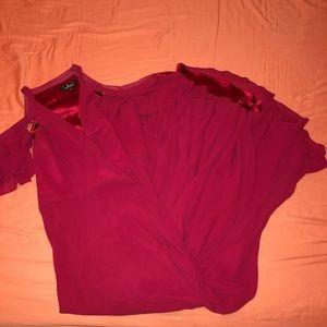 LULU'S DEEP RED OFF THE SHOULDER MAXI DRESS $40